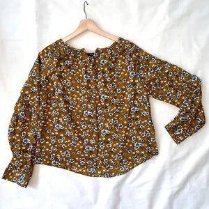 Fall floral print dark mustard blouse, size M